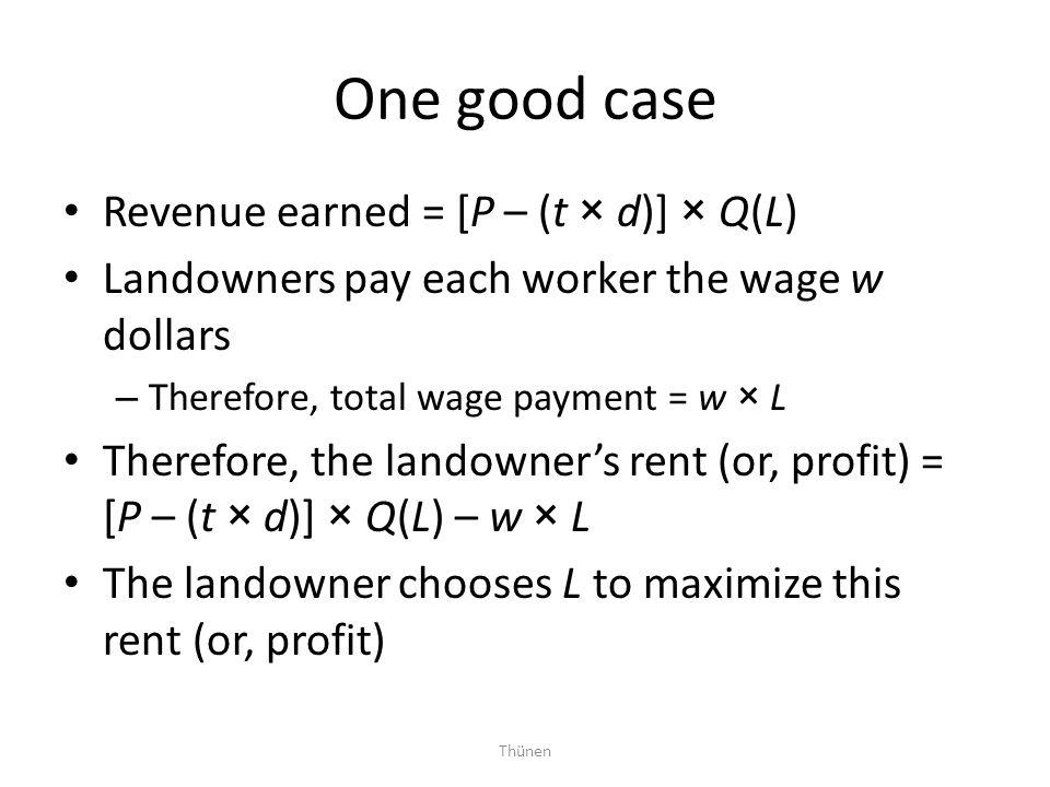 One good case Revenue earned = [P – (t × d)] × Q(L)